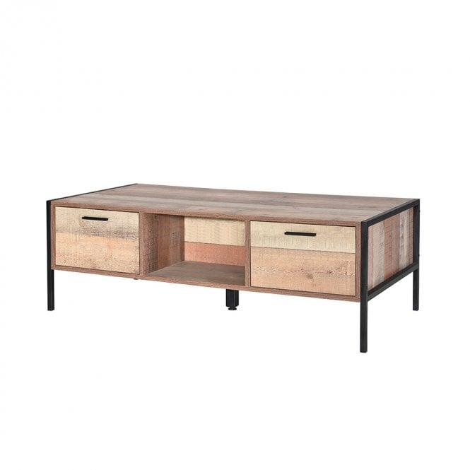 Hoxton Rectangular 2 Drawer Coffee Table, Distressed Oak