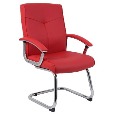 Hoxton Red Visitor Chair with Chrome Frame