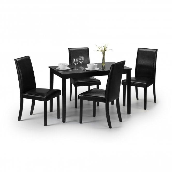 Hudson 4 Seater Dining Set, Black