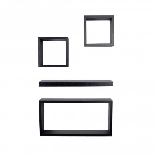 Hudson 4 Shelf And Cube Set, Black