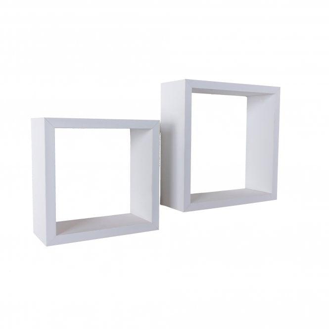 Hudson Floating Cube Shelf Set Of 2, White