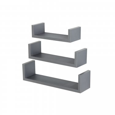 Hudson Foiled Grey Floating 'U' Shape Shelf Kit