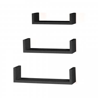 Hudson Foiled Matt Black Floating 'U' Shape Shelf Kit