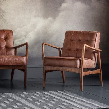 Humber Armchair, Brown & Leather