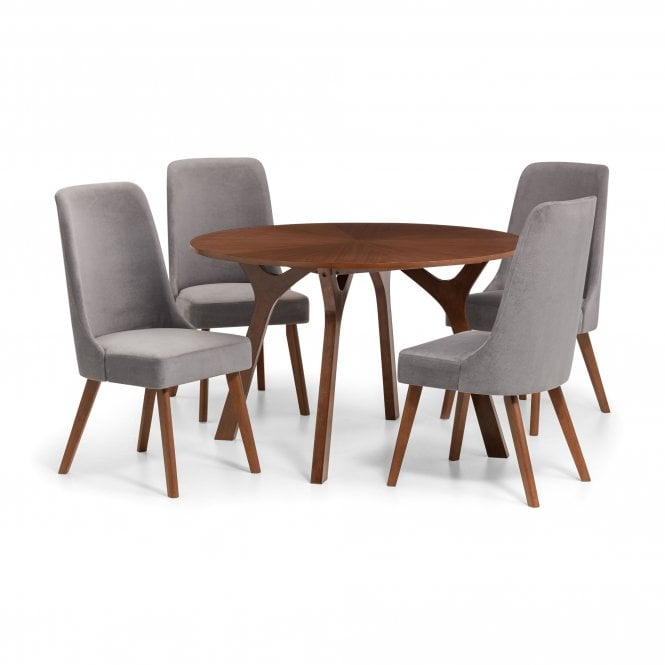 Huxley 4 Seater Dining Set, Walnut