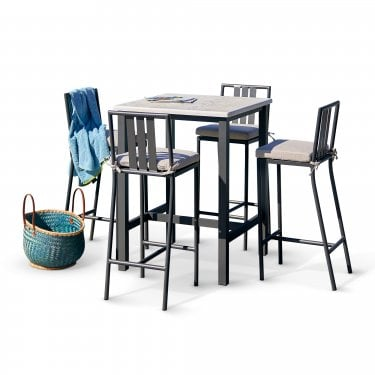 Ibiza Aniseed Square Bar Set with Aniseed Bar Stools