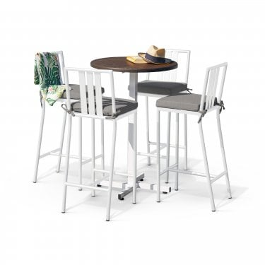 Ibiza White Round Bar Set with White Bar Stools