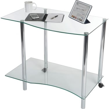 Ice Clear Glass Workstation with Chrome Frame