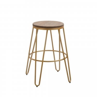 Ikon Oak & Gold Bar Stool