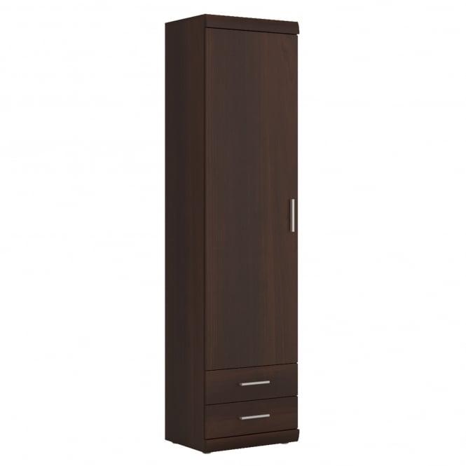 Imperial Narrow 1 Door 2 Drawer Cabinet, Dark Mahogany Effect