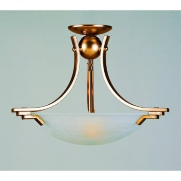 Impex Lighting Amora Antique Brass 2 Lt Semi Flush Ceiling Light