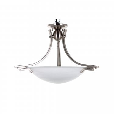Impex Lighting Amora Satin Nickel 2 Lt Semi Flush Ceiling Light