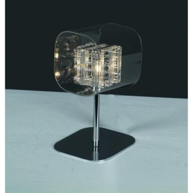 Impex Lighting Avignon Chrome 1Lt Indoor Table Lamp with 1 Clear Glass Cube Shade (PGH01515/01/TL/CH)