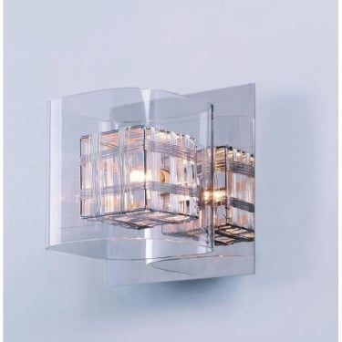 Impex Lighting Avignon Chrome 1Lt Indoor Wall Light with 1 Clear Glass Cube Shades (PGH01515/01/WB/CH)