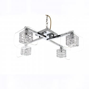 Impex Lighting Avignon Chrome 4Lt Indoor Flush Ceiling Light with 4 Clear Glass Cube Shades (PGH01515/04/PL/CH)