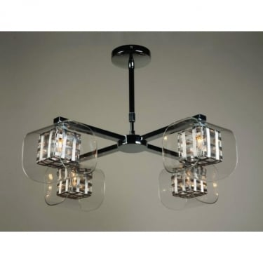 Impex Lighting Avignon Chrome with Clear Glass 4 Lt Semi Flush Ceiling Light