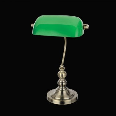 Impex Lighting Bankers Antique Brass 1Lt Indoor Banker Table Lamp with Green Glass Shade (TB305101/GRN/AB)