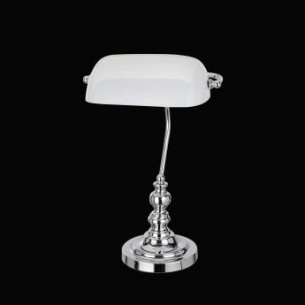 Impex Lighting Bankers Chrome 1Lt Indoor Banker Table Lamp with White Glass Shade (TB305101/WH/CH)