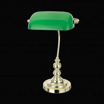 Impex Lighting Bankers Polished Brass 1Lt Indoor Banker Table Lamp with Green Glass Shade (TB305101/GRN/PB)