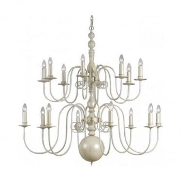Impex Lighting Bologna 12 Light Cream Hand Painted Flemish Chandelier