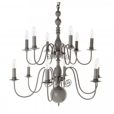 Impex Lighting Bologna 12 Light Grey Hand Painted Flemish Chandelier