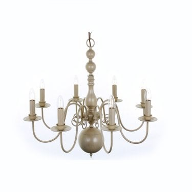 Impex Lighting Bologna 8 Light Cream Hand Painted Flemish Chandelier