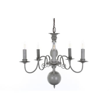 Impex Lighting Bologna Grey 5Lt Indoor Chandelier (PG05579/05/GRY)