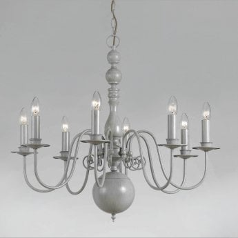 Impex Lighting Bologna Grey 8Lt Indoor Chandelier (PG05579/08/GRY)