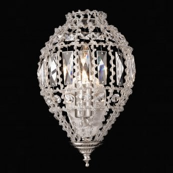 Impex Lighting Bombay Chrome 1Lt Indoor Wall Light with Smoked Crystal Glass Details (CO01219/WB/C)