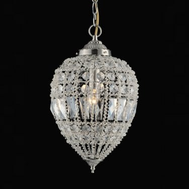 Impex Lighting Bombay Clear Crystal Large Pendant Light