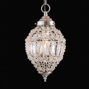 Impex Lighting Bombay Clear Crystal Small Pendant Light