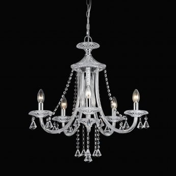 Impex Lighting Calgary Chrome with Clear Crystal 5 Lt Pendant Light