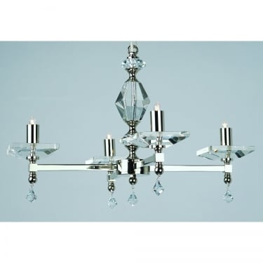 Impex Lighting Capri 4 Light Chandelier With Optic Glass Pins