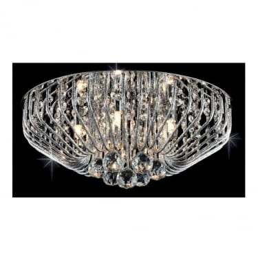 Impex Lighting Carlo Chrome 5Lt Flush Ceiling Light