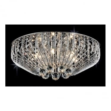 Impex Lighting Carlo Chrome 6Lt Indoor Flush Ceiling Light with Clear Glass Details (CFH508052/06/PL/CH)