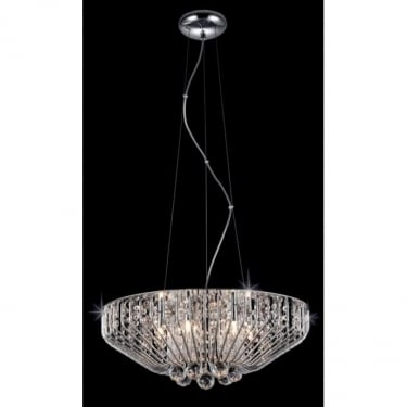 Impex Lighting Carlo Chrome 6Lt Indoor Pendant Light with Clear Glass Details (CFH508052/06/CH)