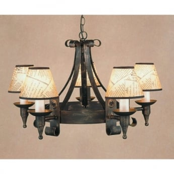 Impex Lighting Cromwell 5 Light Iron Pendant Light