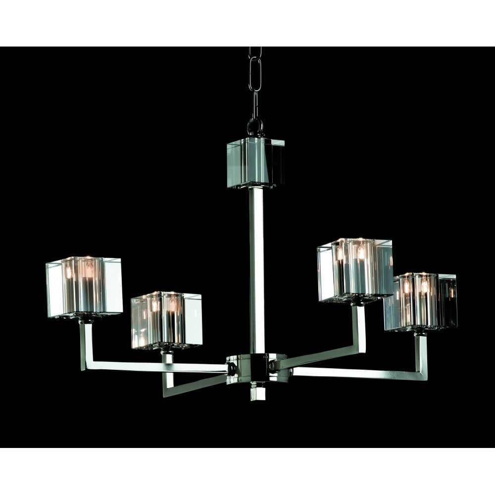Impex Cube 4 Light Modern Halogen Chandelier With Optical