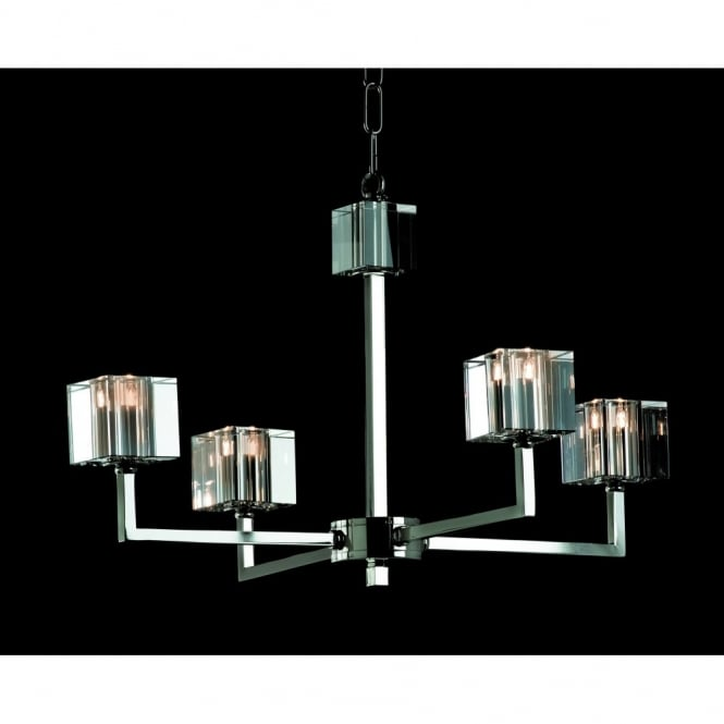 Impex Cube 4 Light Modern Halogen Chandelier With Optical Glass at ...