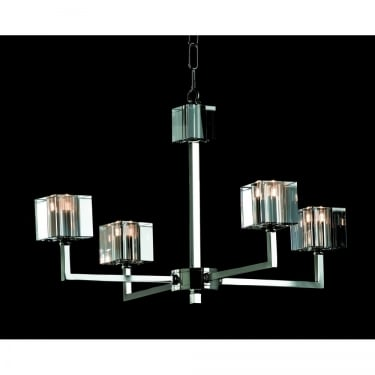 Impex Lighting Cube 4 Light Modern Halogen Chandelier With Optical Glass