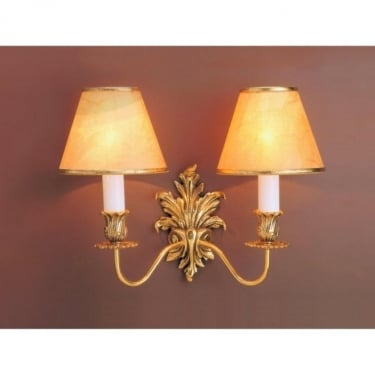 Impex Lighting Dauphine 2 Light Polished Brass Wall Light With Shade