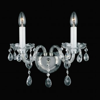 Impex Lighting Dolni 2 Light Georgian Lead Crystal Nickel Chandelier Wall Light