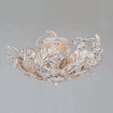 Impex Lighting Florence Antique White with Clear Crystal 3 Light Semi Flush Ceiling Light