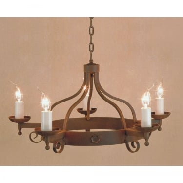 Impex Lighting Forge 5 Light Iron Pendant Light