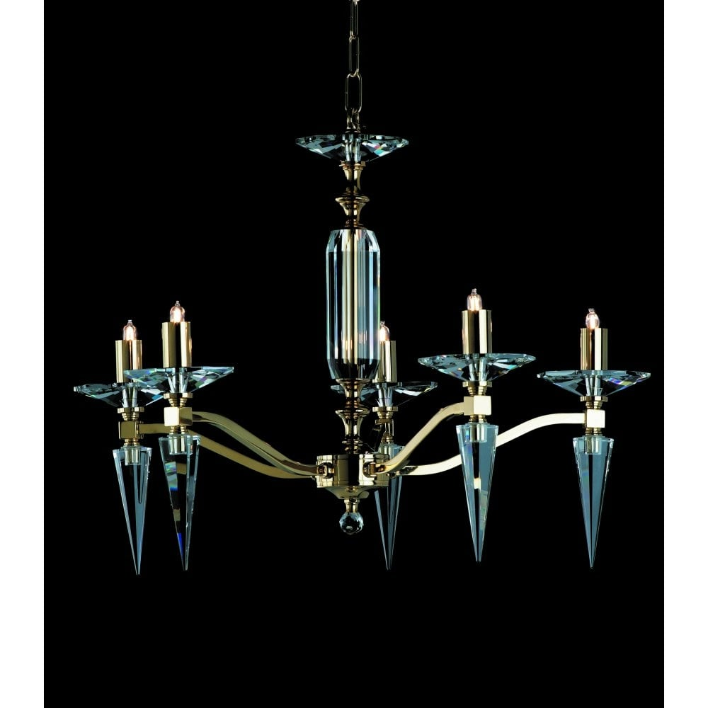 Impex Forli 5 Light Lead Crystal Chandelier With Optical