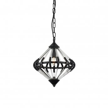 Impex Lighting Gerda Black 1Lt Indoor Pendant Light (PG1702/01/BLK)