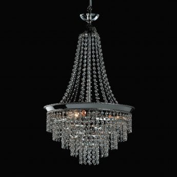 Impex Lighting Herne 3 Light Strass Empire Tier Nickel Pendant Light