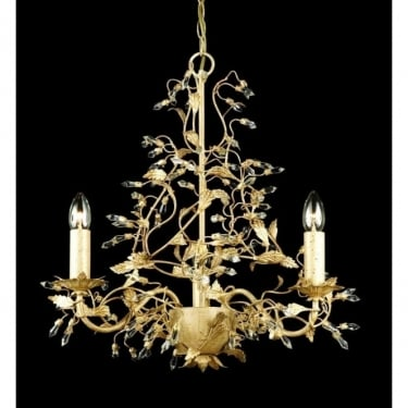 Impex Lighting Italiano Cream Gold with Clear Crystal 3 Lt Pendant Light