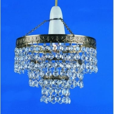 Impex Lighting Kiel 1 Light Tier Crystal Antique Brass Non Electrical Pendant Light