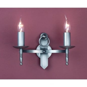 Impex Lighting Mitre 2 Light Sterling Iron Wall Light
